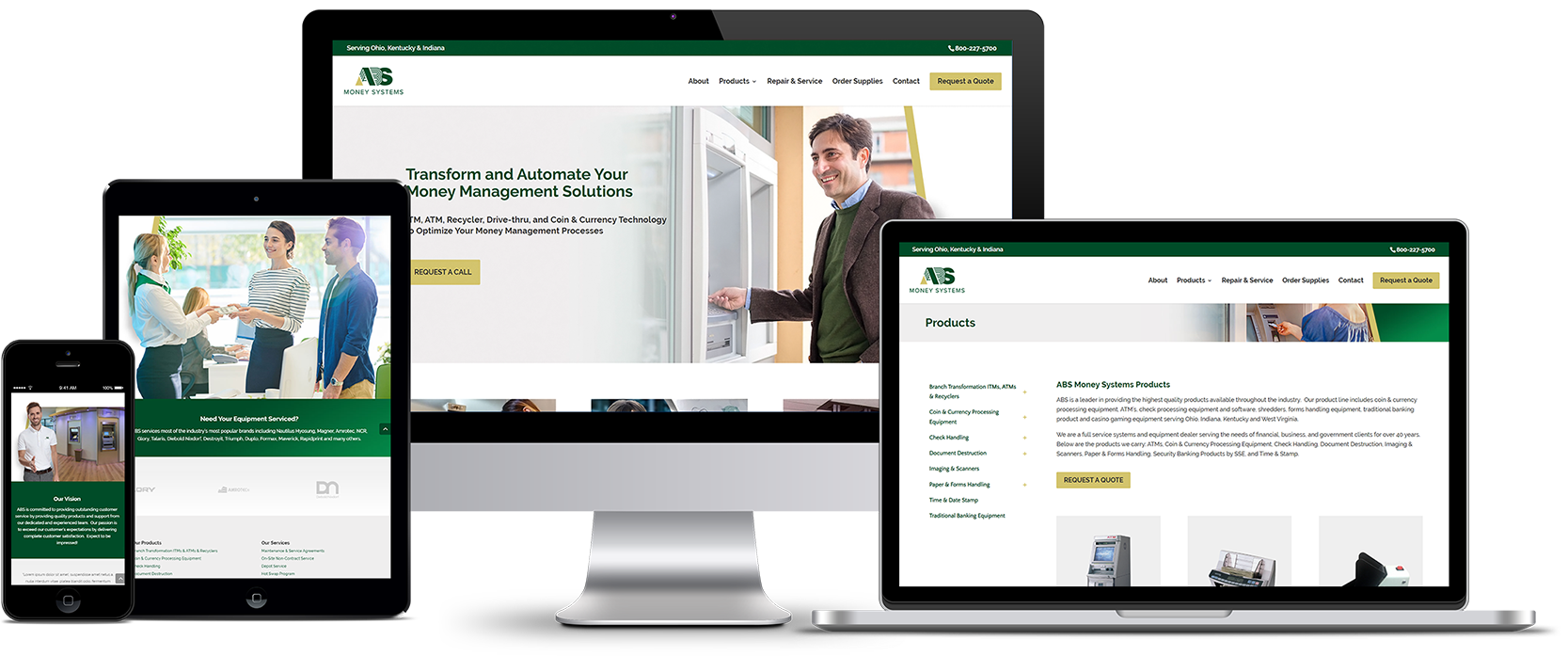 ABS Money Systems Responsive Website Design Showcase