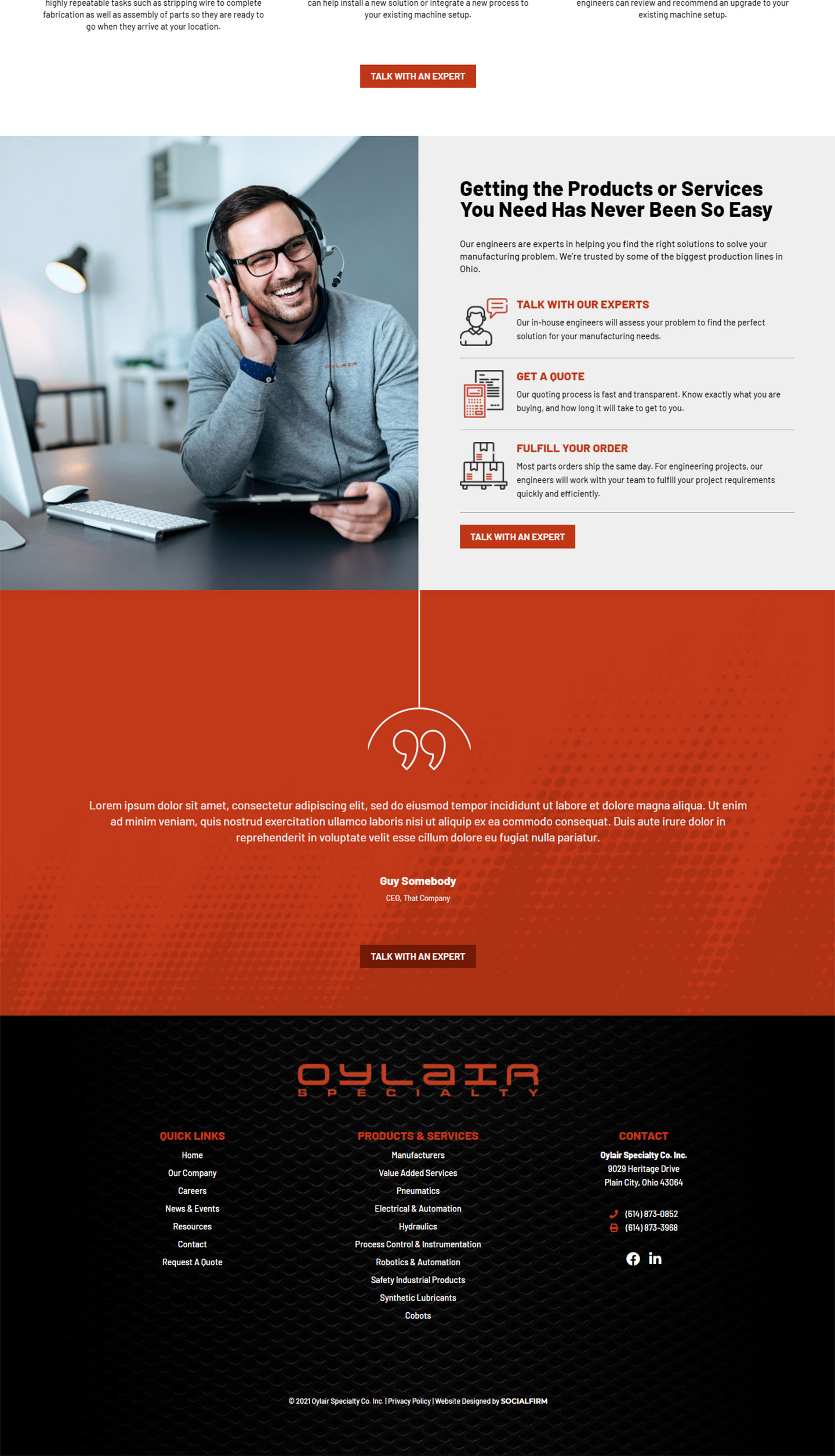 Oylair Specialty Website Design
